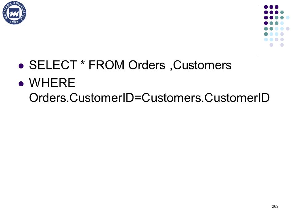 SELECT * FROM Orders ,Customers