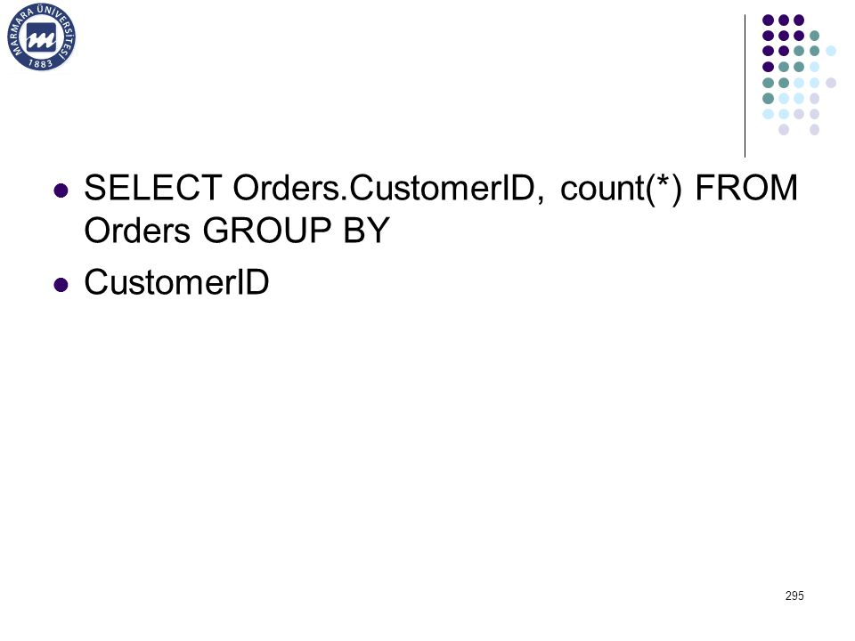 SELECT Orders.CustomerID, count(*) FROM Orders GROUP BY