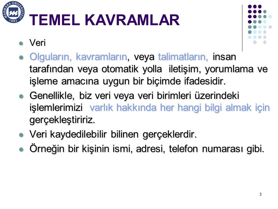 TEMEL KAVRAMLAR Veri.