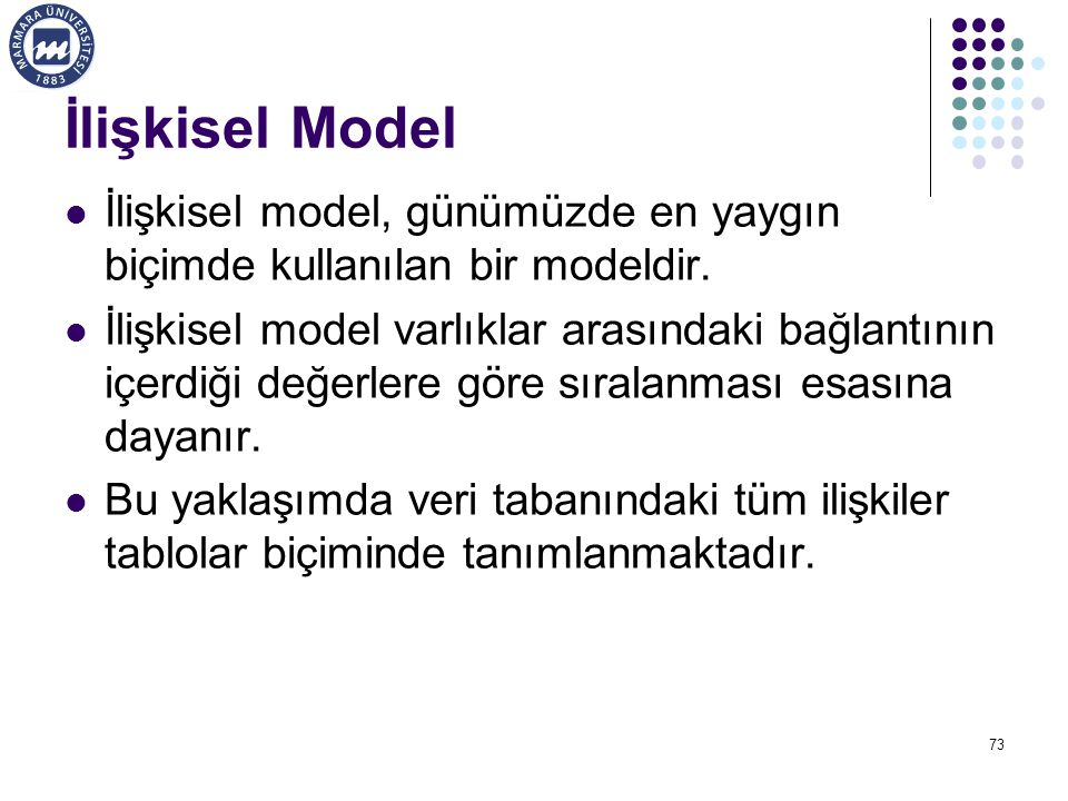 İlişkisel Model İlişkisel model, günümüzde en yaygın biçimde kullanılan bir modeldir.