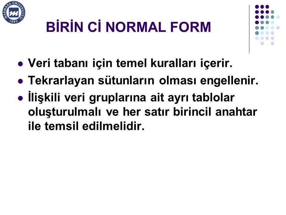 BİRİN Cİ NORMAL FORM Veri tabanı için temel kuralları içerir.
