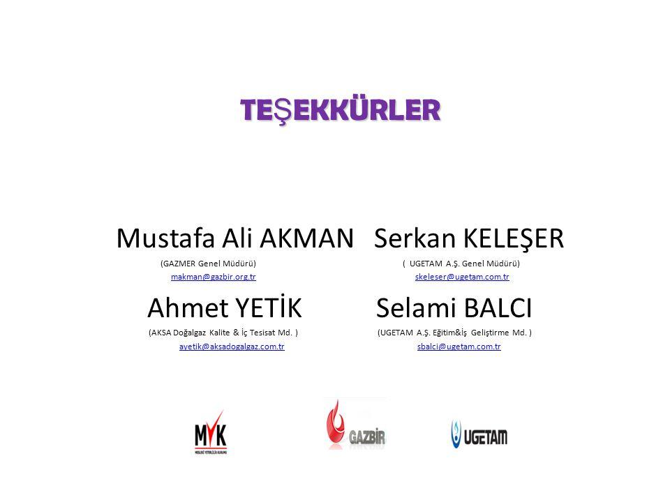 Mustafa Ali AKMAN Serkan KELEŞER Ahmet YETİK Selami BALCI