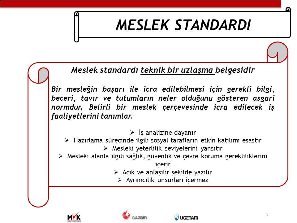 Meslek standardı teknik bir uzlaşma belgesidir