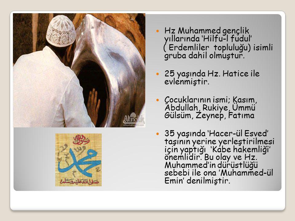 Hz Muhammed gençlik yıllarında 'Hilfu-l fudul'