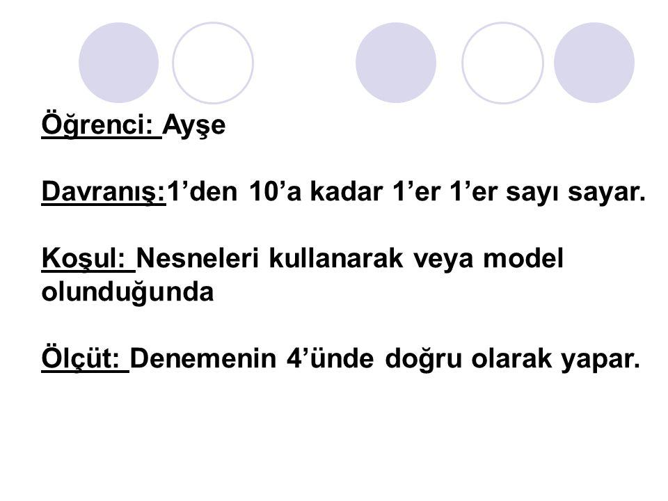 Öğrenci: Ayşe Davranış:1'den 10'a kadar 1'er 1'er sayı sayar. Koşul: Nesneleri kullanarak veya model olunduğunda.