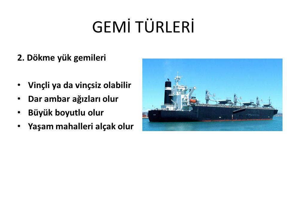 GEMİ TÜRLERİ 2. Dökme yük gemileri Vinçli ya da vinçsiz olabilir