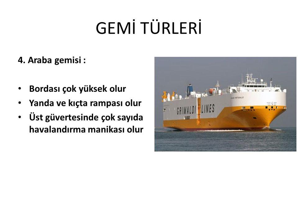 GEMİ TÜRLERİ 4. Araba gemisi : Bordası çok yüksek olur