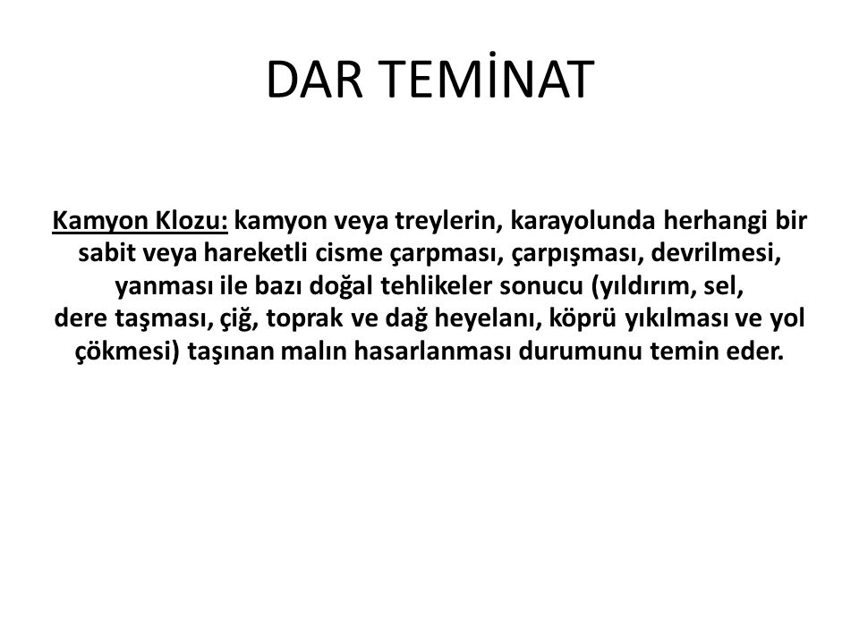 DAR TEMİNAT