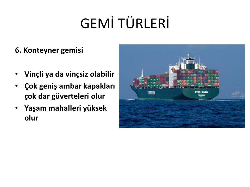 GEMİ TÜRLERİ 6. Konteyner gemisi Vinçli ya da vinçsiz olabilir