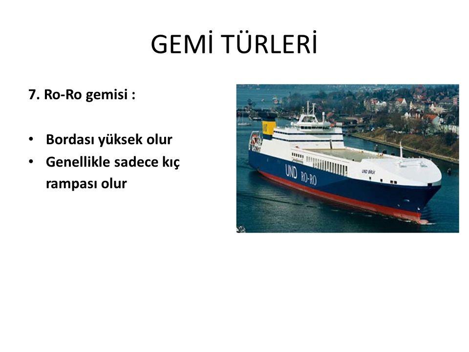 GEMİ TÜRLERİ 7. Ro-Ro gemisi : Bordası yüksek olur