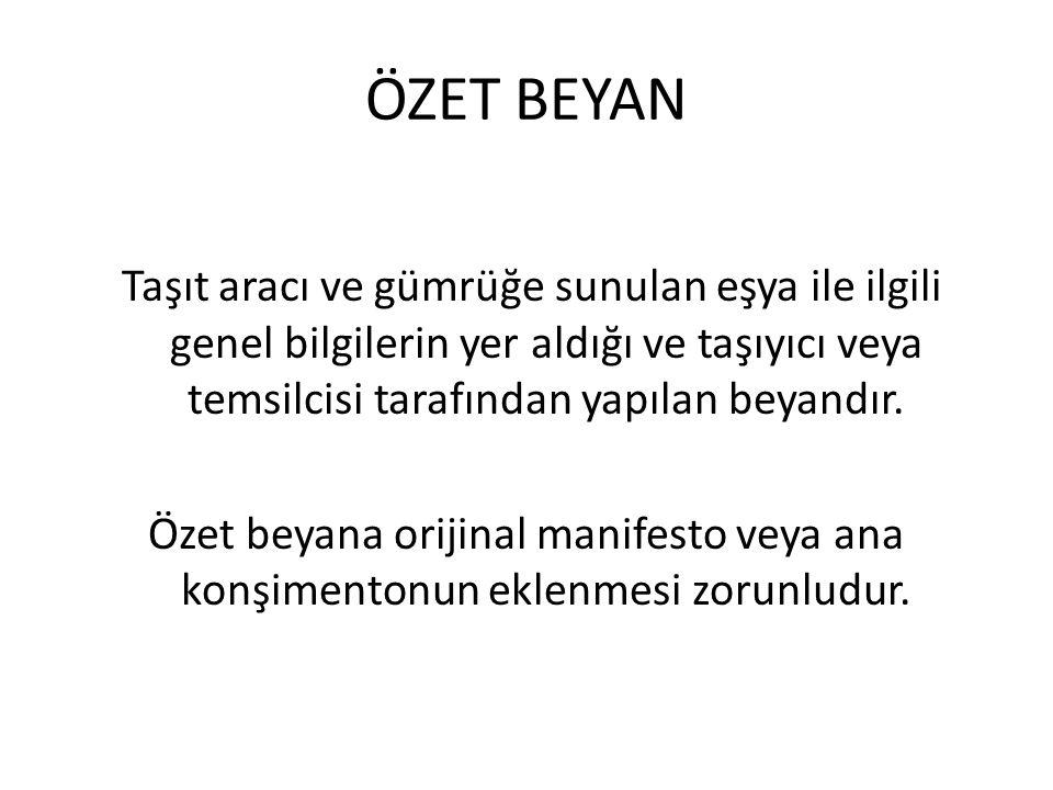 ÖZET BEYAN
