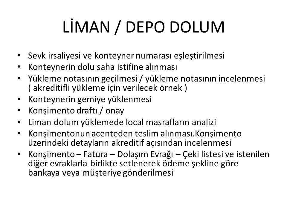 LİMAN / DEPO DOLUM Sevk irsaliyesi ve konteyner numarası eşleştirilmesi. Konteynerin dolu saha istifine alınması.