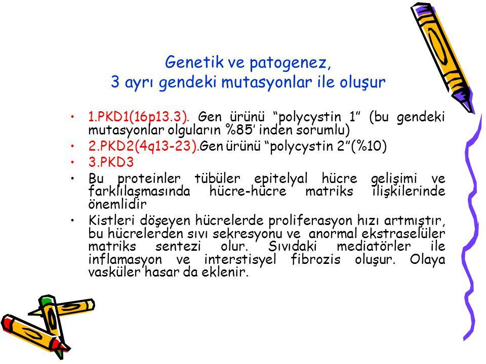 Genetik ve patogenez, 3 ayrı gendeki mutasyonlar ile oluşur