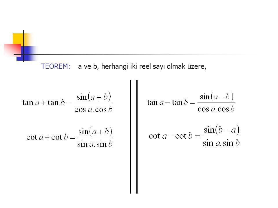 TEOREM: a ve b, herhangi iki reel sayı olmak üzere,