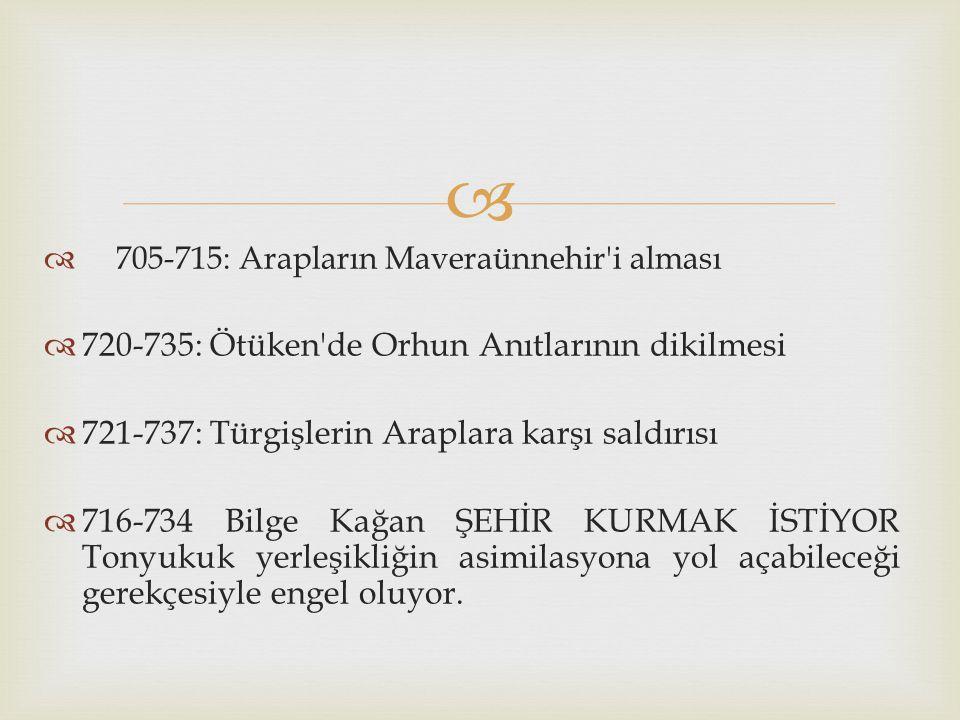 720-735: Ötüken de Orhun Anıtlarının dikilmesi