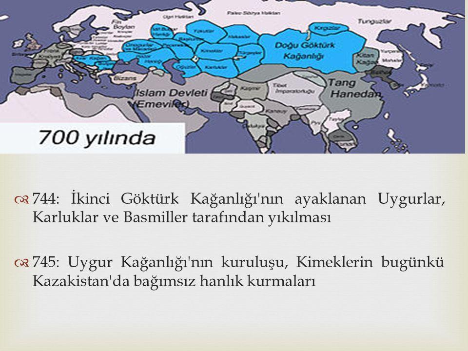 744: İkinci Göktürk Kağanlığı nın ayaklanan Uygurlar, Karluklar ve Basmiller tarafından yıkılması