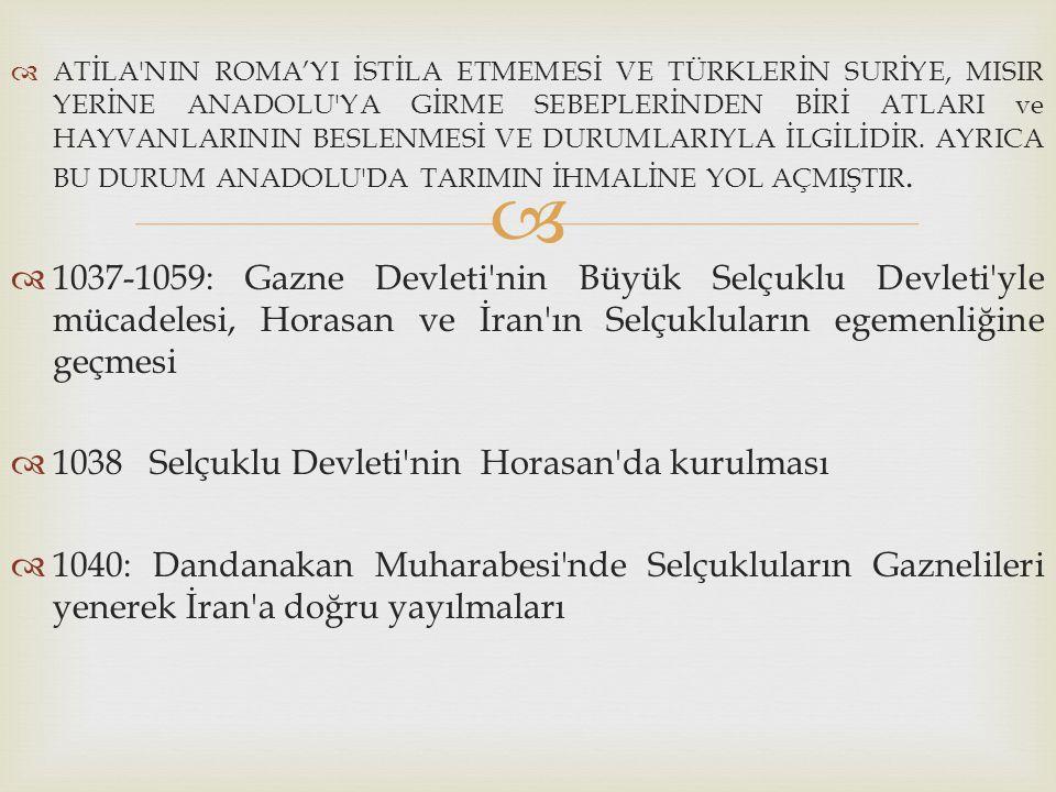 1038 Selçuklu Devleti nin Horasan da kurulması