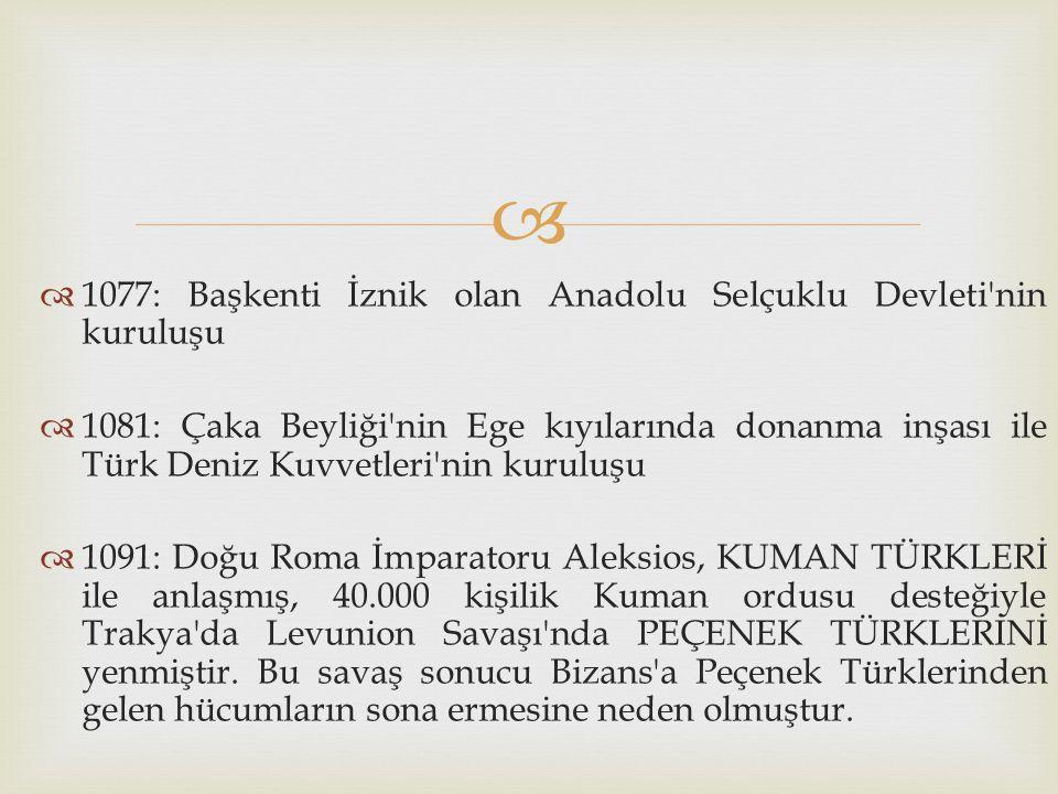 1077: Başkenti İznik olan Anadolu Selçuklu Devleti nin kuruluşu