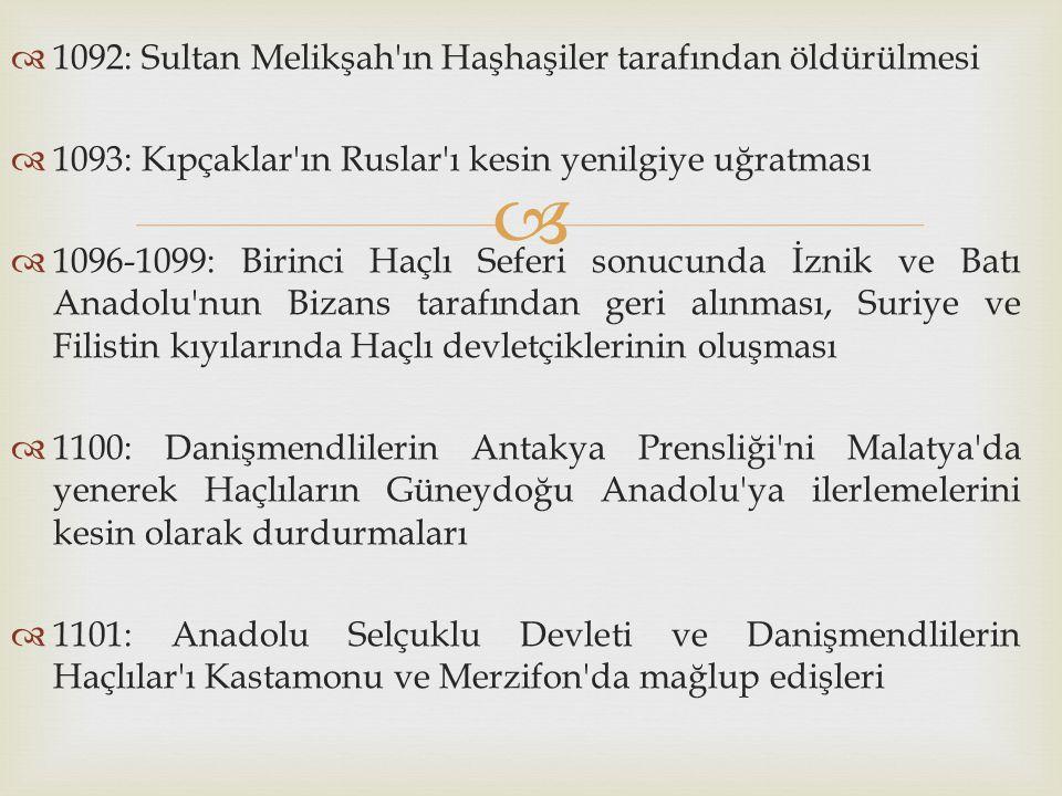 1092: Sultan Melikşah ın Haşhaşiler tarafından öldürülmesi