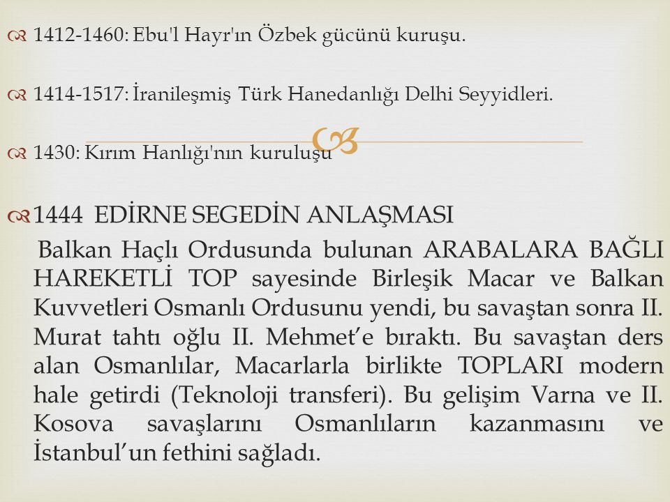 1444 EDİRNE SEGEDİN ANLAŞMASI