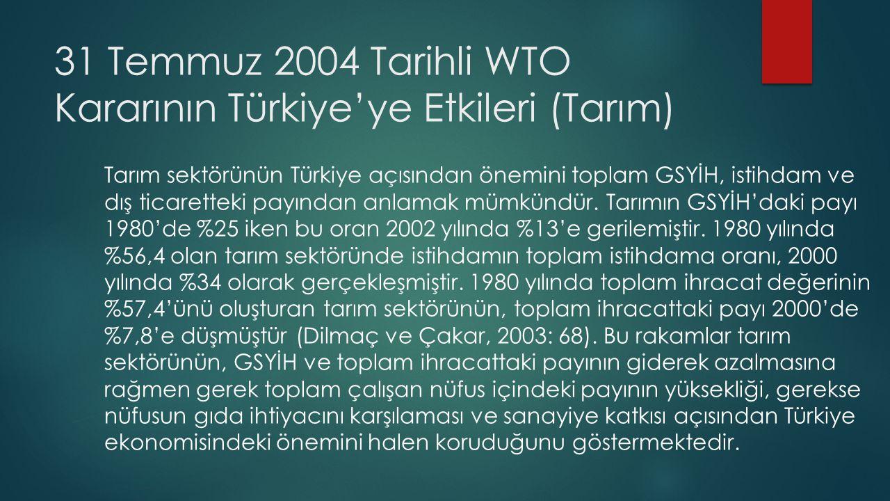 31 Temmuz 2004 Tarihli WTO Kararının Türkiye'ye Etkileri (Tarım)