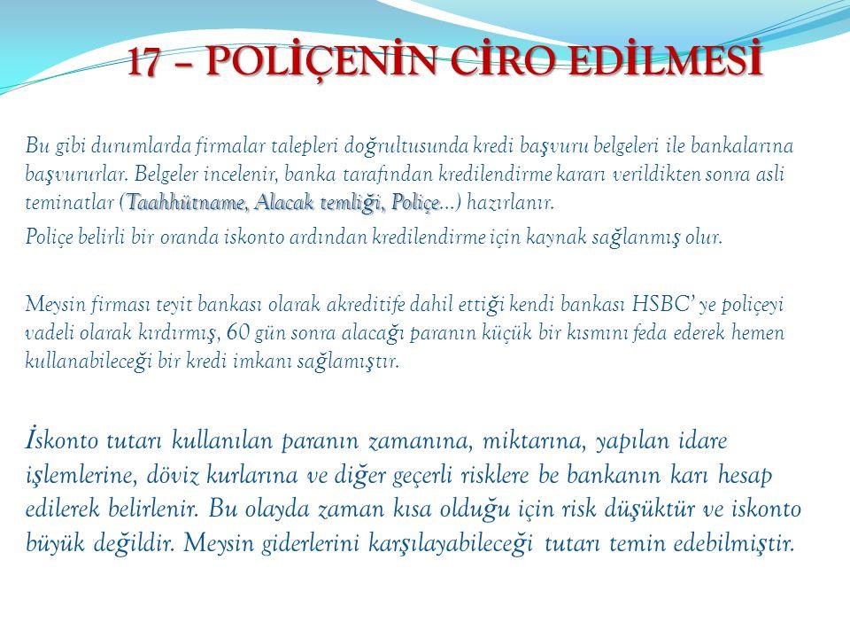 17 – POLİÇENİN CİRO EDİLMESİ