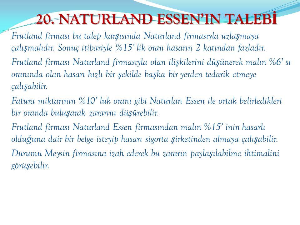 20. NATURLAND ESSEN'IN TALEBİ