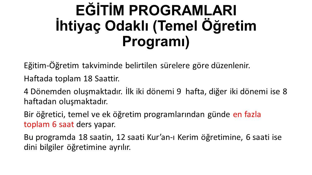 EĞİTİM PROGRAMLARI İhtiyaç Odaklı (Temel Öğretim Programı)