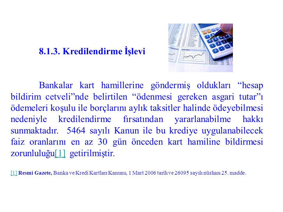 8.1.3. Kredilendirme İşlevi