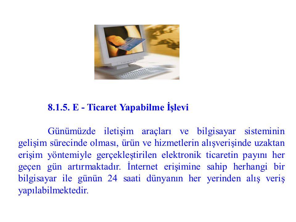 8.1.5. E - Ticaret Yapabilme İşlevi