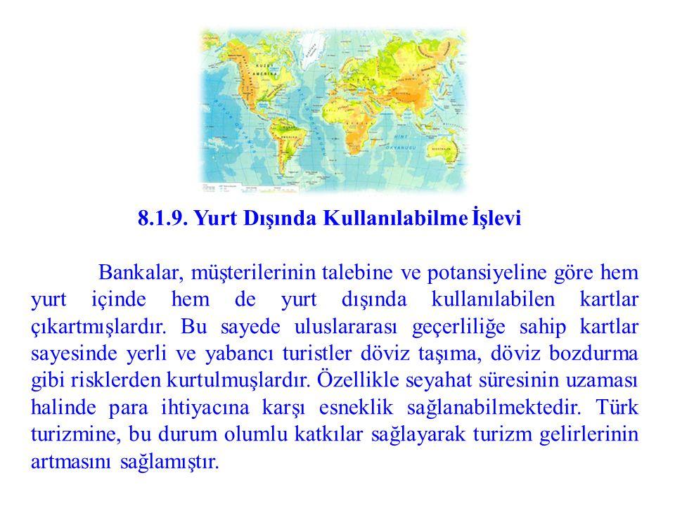 8.1.9. Yurt Dışında Kullanılabilme İşlevi