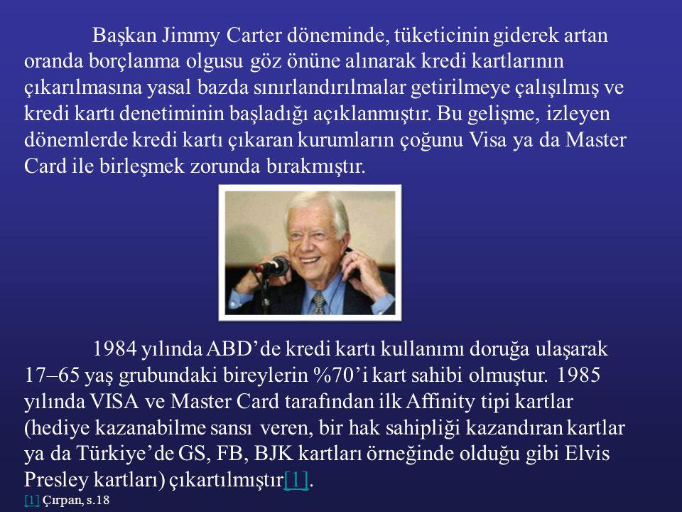 Başkan Jimmy Carter döneminde, tüketicinin giderek artan oranda borçlanma olgusu göz önüne alınarak kredi kartlarının çıkarılmasına yasal bazda sınırlandırılmalar getirilmeye çalışılmış ve kredi kartı denetiminin başladığı açıklanmıştır. Bu gelişme, izleyen dönemlerde kredi kartı çıkaran kurumların çoğunu Visa ya da Master Card ile birleşmek zorunda bırakmıştır.