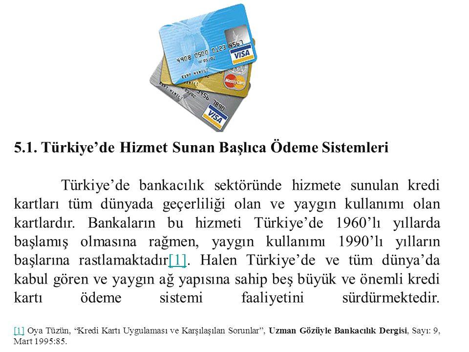 5.1. Türkiye'de Hizmet Sunan Başlıca Ödeme Sistemleri