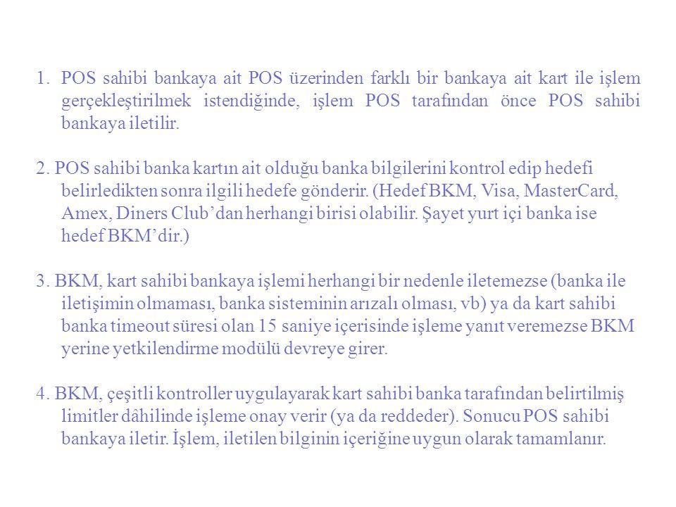 POS sahibi bankaya ait POS üzerinden farklı bir bankaya ait kart ile işlem gerçekleştirilmek istendiğinde, işlem POS tarafından önce POS sahibi bankaya iletilir.