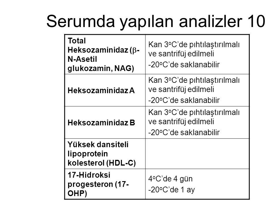 Serumda yapılan analizler 10