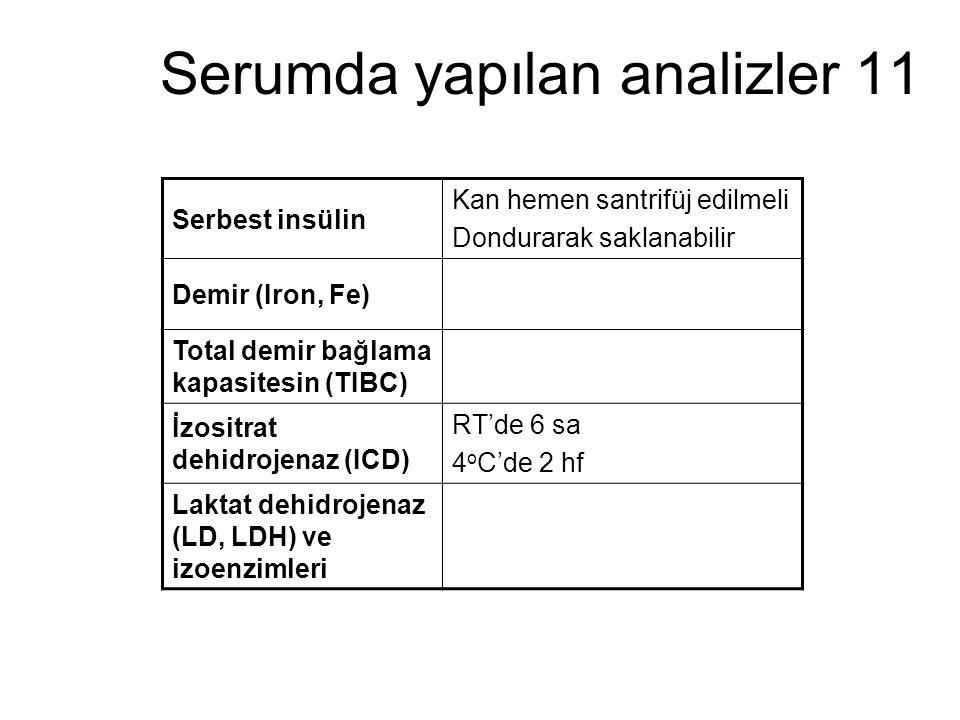 Serumda yapılan analizler 11
