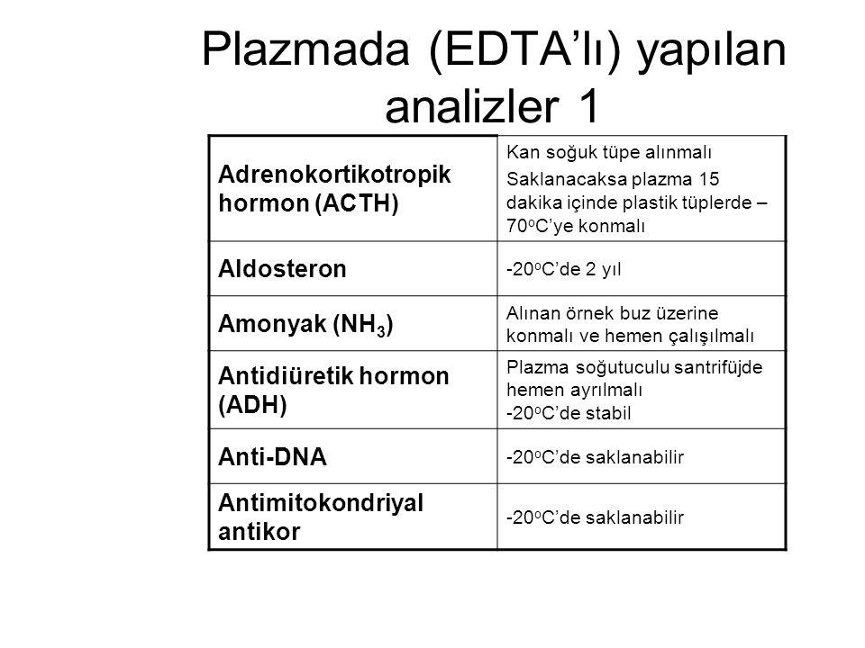 Plazmada (EDTA'lı) yapılan analizler 1