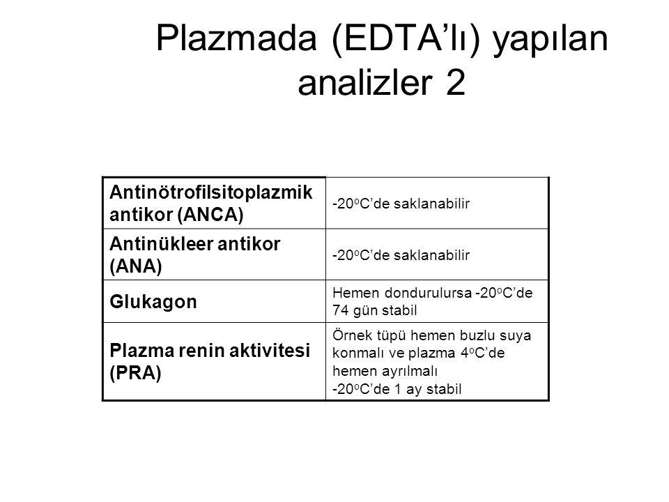 Plazmada (EDTA'lı) yapılan analizler 2