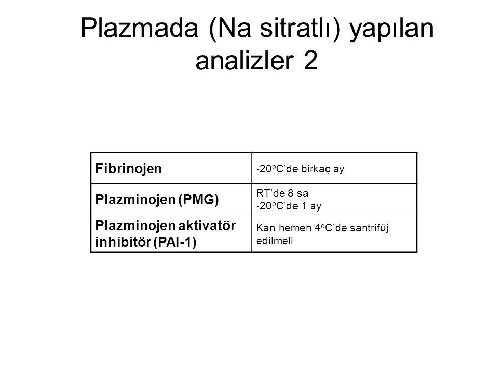 Plazmada (Na sitratlı) yapılan analizler 2