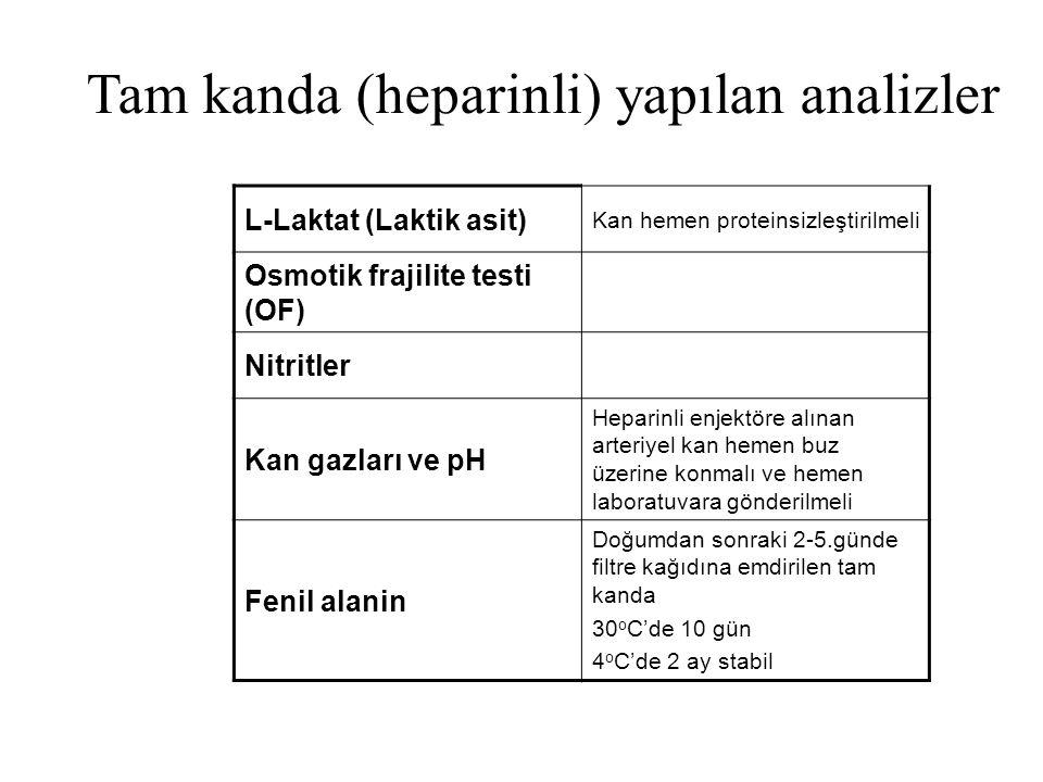 Tam kanda (heparinli) yapılan analizler