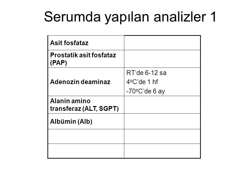 Serumda yapılan analizler 1
