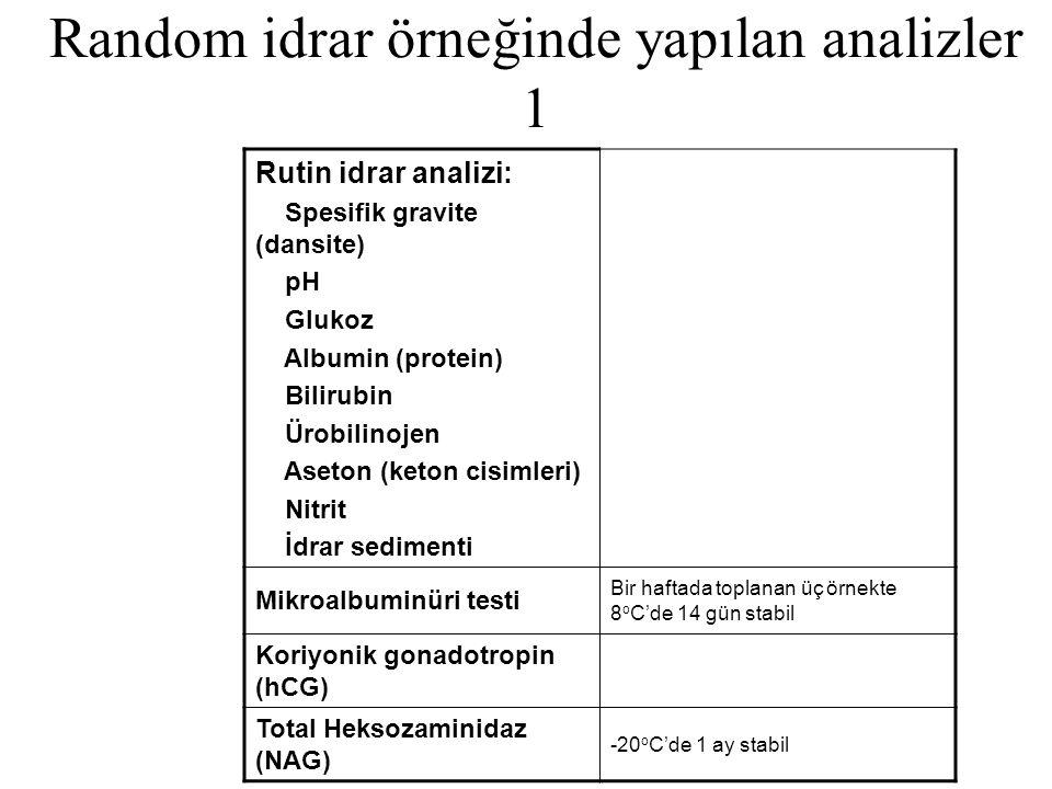 Random idrar örneğinde yapılan analizler 1