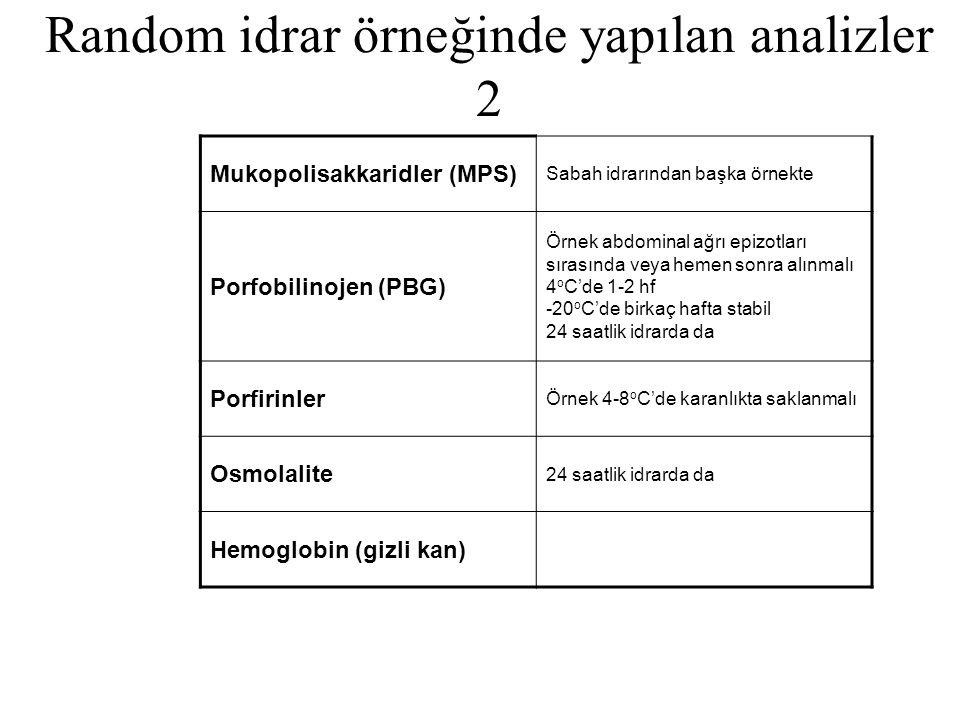 Random idrar örneğinde yapılan analizler 2