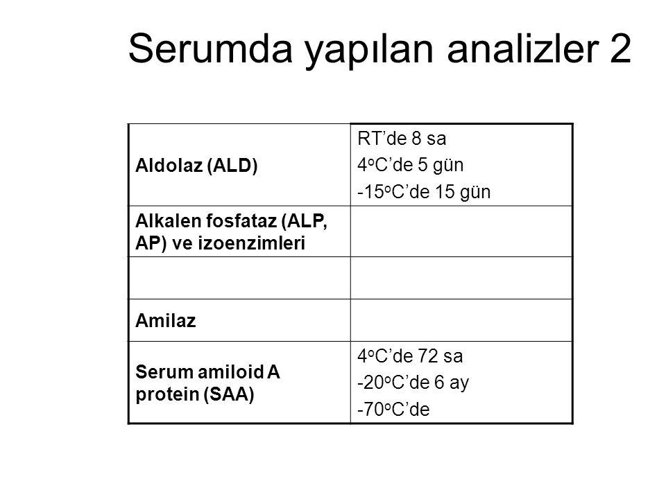 Serumda yapılan analizler 2