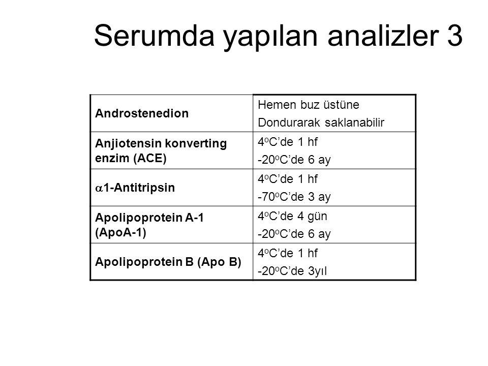 Serumda yapılan analizler 3