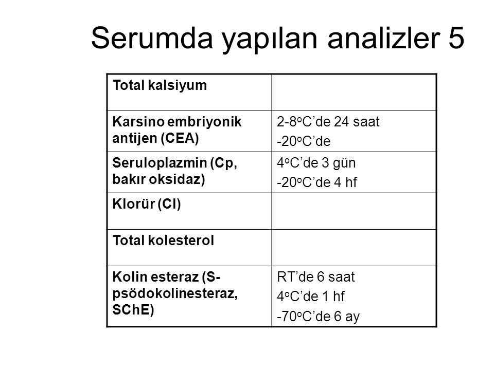 Serumda yapılan analizler 5