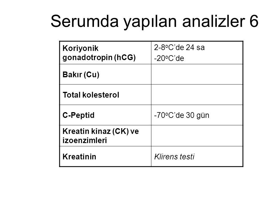 Serumda yapılan analizler 6