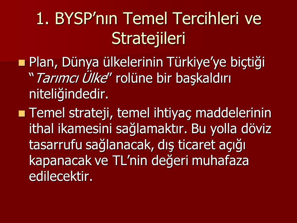 1. BYSP'nın Temel Tercihleri ve Stratejileri