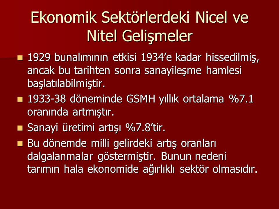 Ekonomik Sektörlerdeki Nicel ve Nitel Gelişmeler
