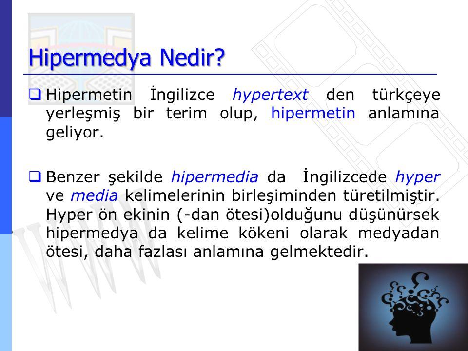 Hipermedya Nedir Hipermetin İngilizce hypertext den türkçeye yerleşmiş bir terim olup, hipermetin anlamına geliyor.